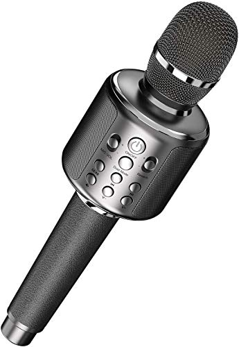 Goodaaaa Karaoke Microphone, Bluetooth, Large Capacity, 3,000 mAh, Wireless Microphone, Karaoke Microphone, Single Person Karaoke TWS Function & Accompaniment Function, TF Card/Aux Playback Echo Recording Function, Leather Handle, Compatible with Android and iPhone, Technical Compliance Certification Telec/PSE/METI Recording (Grey)