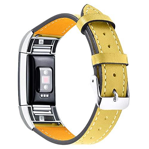 TechCode Charge 2 Correa, Correa de Cuero Genuino Reemplazo Ajustable con Conector de Metal Pulsera Pulsera de liberación rápida Accesorios de Fitness para Fitbit Charge 2 (Amarillo)