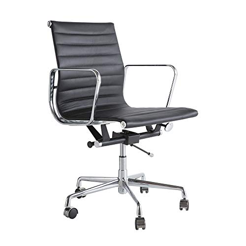 TOOMOO Silla de escritorio de oficina en casa, con respaldo medio, ergonómica, ajustable, con soporte lumbar, apoyabrazos y base de aluminio, cuero de poliuretano, negro