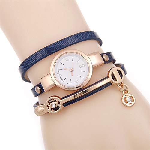 QHG Relojes de Mujer con Juego de Joyas Pulsera Ladies Reloj de Pulsera Moda Reloj Femenino Vestido Vestimenta Movimiento de Cuarzo Acero Rosa Oro (Color : F)