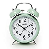 FLOITTUY {Loud Alarm for Deep Sleepers} 4'' Twin Bell Alarm Clock with Backlight for Bedroom and Home Decoration(Green)