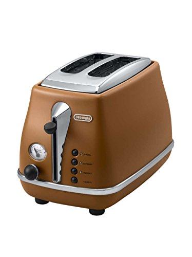 De'Longhi Toaster Icona Vintage CTOV2103.BW - 2-Schlitz-Toaster mit Brötchenaufsatz, Edelstahl in elegantem Retro Look mit Chrom-Details, braun