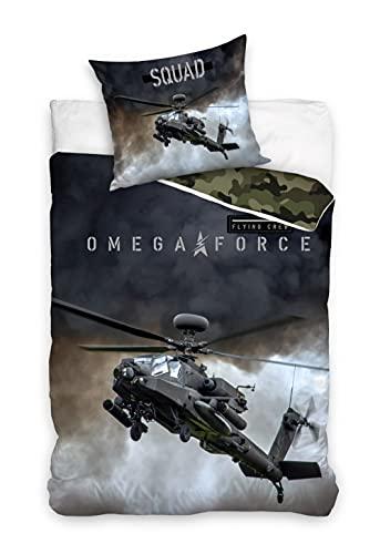 Zirvehome - Juego de cama (algodón, 140 x 200 cm y 70 x 90 cm), diseño de helicóptero