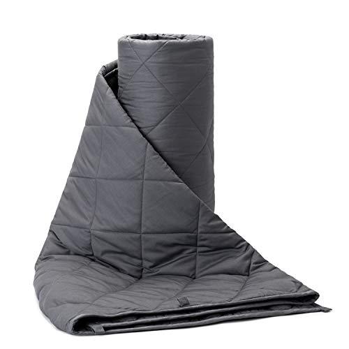 BUZIO Couverture Lestée en Coton Pure Gris (7kg pour Les Enfants de 45 à 70 kg, 120 x 180 cm) Respirant Anxiolytique pour Chambre Salon