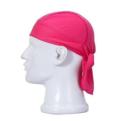 Koolip Adjustable Sweat Beanie Bandana Head Wrap-Bicycle Running Mask Doo Rag Skull Cap-Bike Motorcycle Head Wrap Scarf for Men Women (Hot Pink)