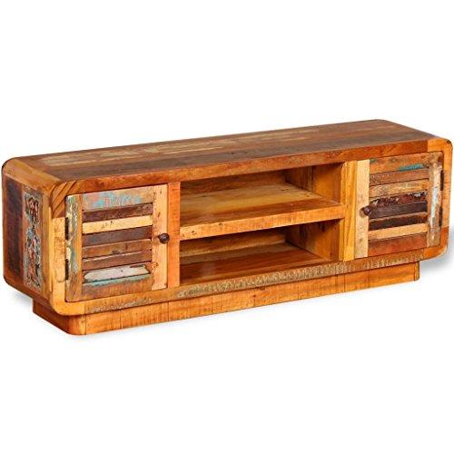 Lingjiushopping Meuble TV en bois recyclé massif 120 x 30 x 40 cm Couleur : multicolore Matériau : bois massif recyclé