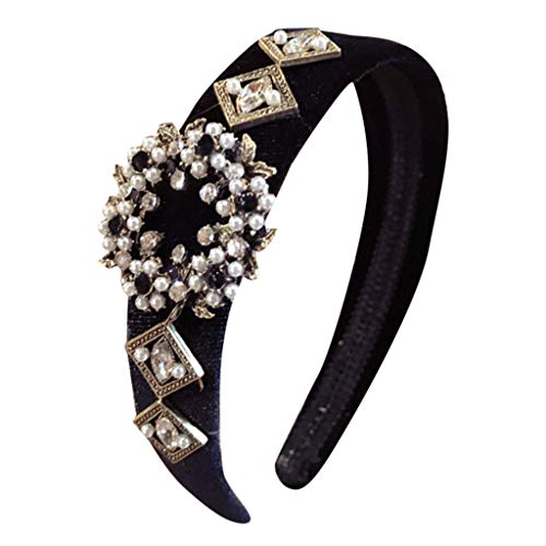 YWLINK Damen Kristall-Stirnband Wide Fabric Hairband Head Wrap Elegant Haarband ZubehöR(Schwarz,)