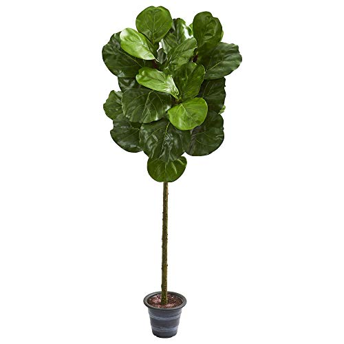 Nearly Natural 4-Ft. Fiddle Leaf Artificial Decorative Planter Silk Trees Green