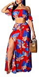 Aro Lora Women's Sexy Off Shoulder Floral Printed Side Slit Two-Piece Maxi Dress Large Red