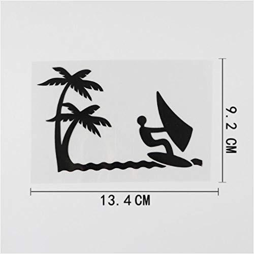 Gbrand 5 Piezas Etiqueta engomada del Coche 13,4 cm x 9,2 cm Palmera Windsurf calcomanía Vinilo Coche Pegatina Negro