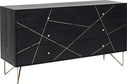 Kare Design Sideboard Gold Vein, edles Echtholz Sideboard in Schwarz mit Goldenen Verzierungen an der Front, breite Kommode mit 6 Schüben, (H/B/T) 82x145x45