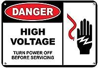 危険高電圧壁金属ポスターレトロプラーク警告ブリキサインヴィンテージ鉄絵画装飾オフィスベッドルームリビングルームクラブのための面白いハンギングクラフト