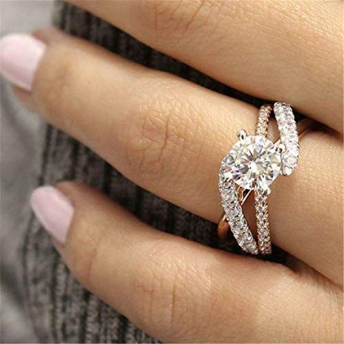 New rose diamond-studded ring f Lady Finger Ring Party Wedding Female Jewelry Ornaments Christmas Gift
