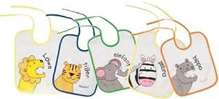 comprar comparacion Playshoes 507145 - Pack de 5 baberos con imágenes divertidas de animales, 25 x 20 cm, multicolores