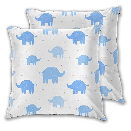 Fodera per cuscino con stampa 3D,Simpatici elefanti blu e cuori su sfondo bianco,Moderna federa per divano divano letto auto set decorazioni per la casa 20'x 20' federa fodere per cuscino cerniera 2pz