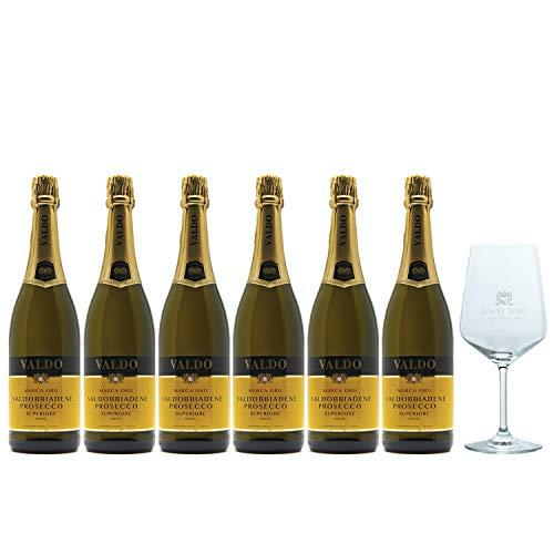 Sparpaket Valdo Marca Oro Prosecco Superiore DOCG (6 x 0.75l) mit Spiegelau Senti Vini Weinglas