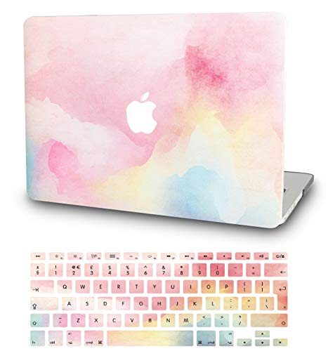 KECC Laptop Case for MacBook Pro 13' (2020/2019/2018/2017/2016) w/Keyboard Cover Plastic Hard Shell A2159/A1989/A1706/A1708 Touch Bar 2 in 1 Bundle (Rainbow Mist)