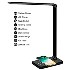 Multifunctional LED Desk Lamp Office Lamp with 5V2A Adapter to wall, Portable,Exactly what You are looking for 25 brightess choices:5 lighting modes × 5 level brightness , Sensitive Touch Control Powerfull charging:owning both USB Charging Port and F...