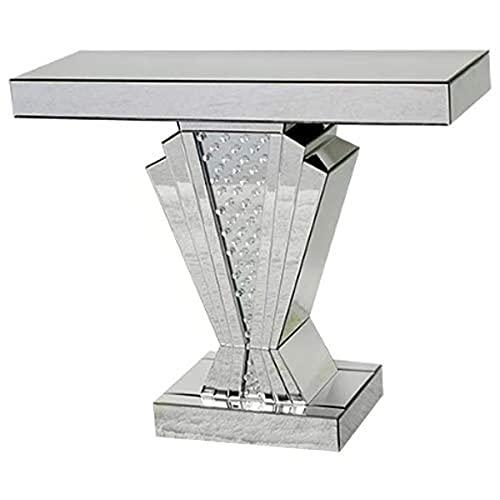 Sassy Home Mesa Consola con Espejo Flotante en Forma de V Estilo Art Deco, Cristal, 90 x 30 x 76 cm