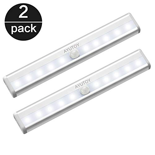 Led Armario Sensor movimiento Luz, Sensor de brillo Interior, auto-on/Off, lámpara nocturna LED para Armario/Cajón/Camino, 10 LED, 2 pcs