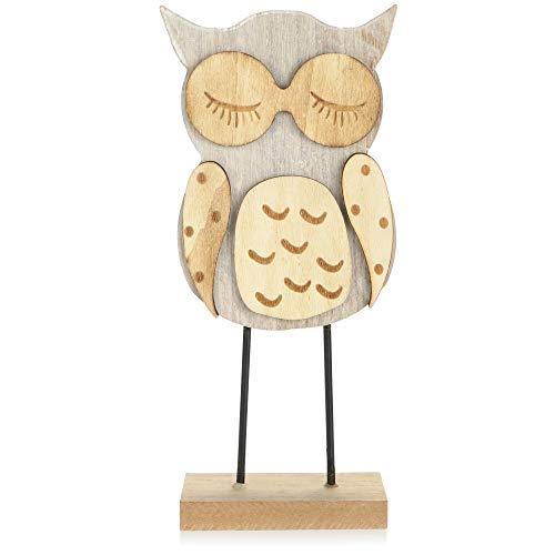 com-four® Holz-Eule, Holzfigur als Deko Aufsteller - Deko-Eule auf einem Holzgestell - Bezaubernder Waldkauz als Tischdeko - Raumdekoration aus Holz (Set08 - Traum-Eule)