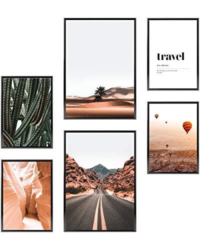 Heimlich Set di Stampe da Parete - Senza Cornici - Decorazioni da Muro per Soggiorno, Camera da Letto e Cucina - Poster Abbinati - 2 x A3 (30x42cm) et 4 x A4 (21x30cm) |»Cactus Desert Landscape «