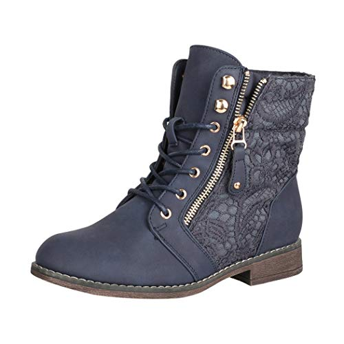 Elara Damen Worker Boots Spitze Stiefeletten Chunkyrayan Neu-9812-Navy-39