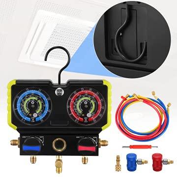 Kacsoo Manometro Aire Acondicionaado, Manifold R134A R22 R410A con Carcasa Anticolisión y Gancho, A/C Kit De Refrigeración De AC Colector Se Utiliza para Medir La Presión del Sistema De Refrigeración