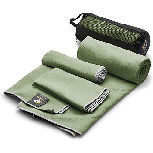Set of 3 Microfiber Towels - Best for Gym Travel Camp Beach Backpacking Sports Outdoor Swim - Quick Dry Fast · Absorbent · Antimicrobial · Compact · Lightweight Men Women Gift Toiletry Bag (Khaki)