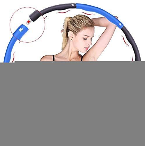 LSYP Hula Hoop, Utilizado para Bajar de Peso y Masaje, se Puede Dividir en 6-8 Partes, 75-95 cm de diámetro, Fitness Hula Hoop ponderado 1. kg (4 Nudos Azul + Gris)
