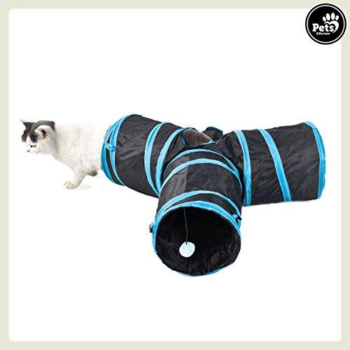 Pets&Partner® Katzentunnel / Spieltunnel für Katzen mit 3 Eingängen und integriertem Katzenspielzeug