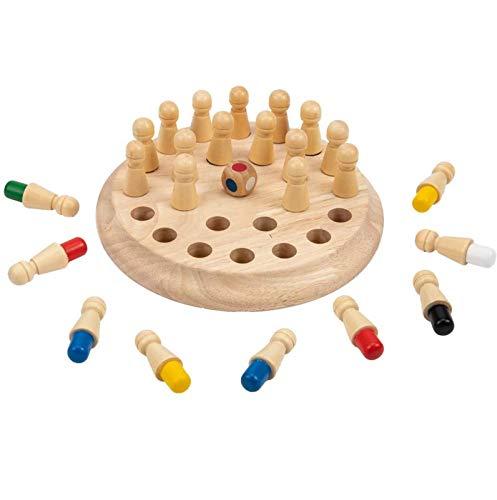 YEES Ajedrez Memory Matchstick para niños, de madera, juego de ajedrez, juego de mesa, lógica pedagógica inteligente y Brainteaser para niños, fiesta familiar precoz