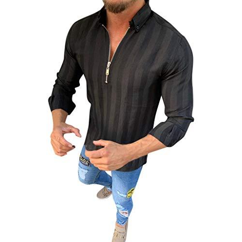 DNOQN Sport Poloshirt Herren Männer Gestreift Lange Ärmel Reißverschluss Shirts Männlich Lässig Geschäft Passen Bluse Slim Top m