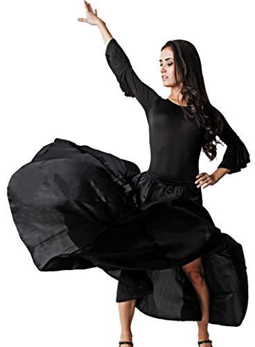 Gojoy shop- Traje Profesional de Baile Danza Flamenco o Sevillanas para Mujer de 2 Piezas (Contiene Body con Doble Volantes en Manga y Falda Liso en 3 Colores Disponibles) (L, Negro)