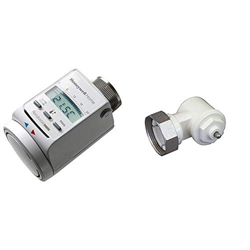 Honeywell Home Programmierbarer Heizkörperregler Rondostat HR20-Style & Oventrop 1011450 Winkeladapter für Ventil-HK, weiß