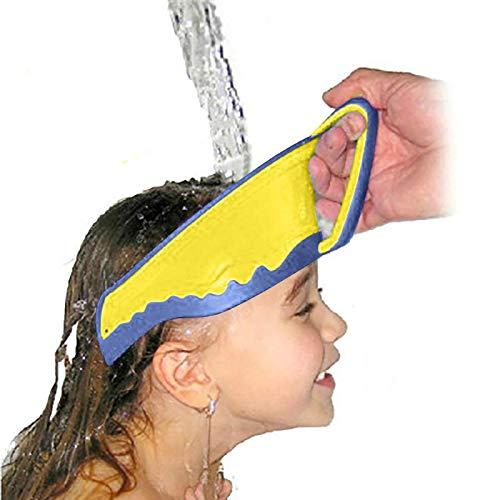 Duschhaube Kinder, Duschhaube Baby, Baby Duschhaube Silicone Adjustable Shampoo Bad Dusche Cap,Die Gesicht und Augen vor Wasser und Shampoo Schützt für Kleinkind Babypflege (Gelb)