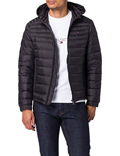 Tommy Hilfiger Herren Packable DOWN Hooded Jacket Jacke, Schwarz, XXL
