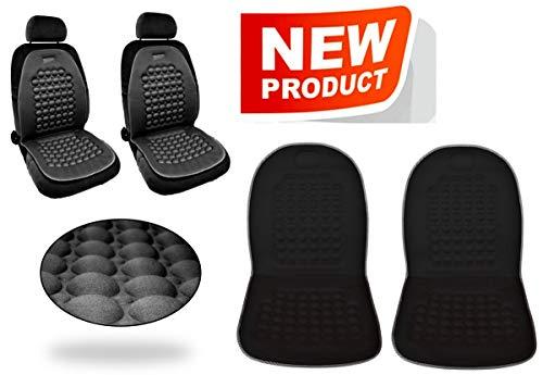 Menitashop Coprisedili Schienale per Auto massaggiante Coppia schienali Universali con Sfere massaggianti Cuscinetti in Rilievo Blu Grigio Nero (Nero)