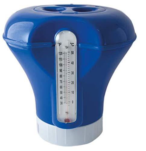 Siqua Dispensador Cloro Flotante con Termómetro. Dosificador automático de cloro para piscinas, Kit Mantenimiento Piscinas y Spa.