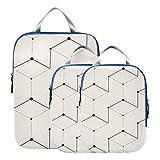 Montoj abstracto figura geométrica cubos de embalaje de viaje, juego de 3 organizadores de equipaje...