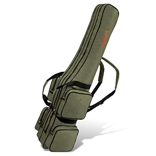 ARAPAIMA FISHING EQUIPMENT Allround Rutentasche Angeln Tasche mit 2 Innenfächern für Angelruten, Kescher und Rutenhalter - 210cm - Oliv