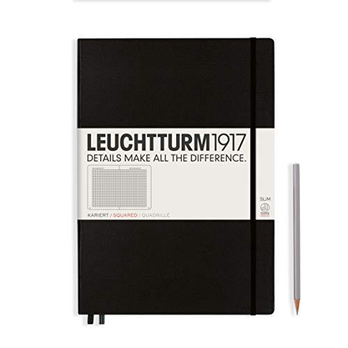 LEUCHTTURM1917 310174 Notizbuch Master Slim (A4+), Hardcover, 123 nummerierte Seiten, Schwarz, kariert