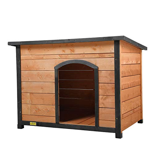 COZIWOW Wooden Dog House for Medium Large Dogs Puppy Weatherproof Outdoor, Insulated Wood Feral Cats Cabin Shelter, Outside Pet Crate