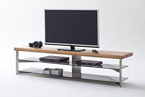 lifestyle4living TV-Rack, TV-Board, Fernsehtisch, TV-Schrank, TV-Bank, TV-Unterschrank, Eiche, massiv, Glas, grau, Phonomöbel, TV-Ständer, TV-Stand, Metall