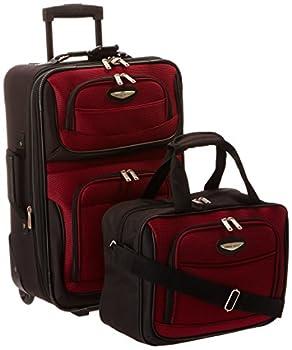 Travel Select Amsterdam Expandable Rolling Upright Luggage Burgundy 2-Piece Set