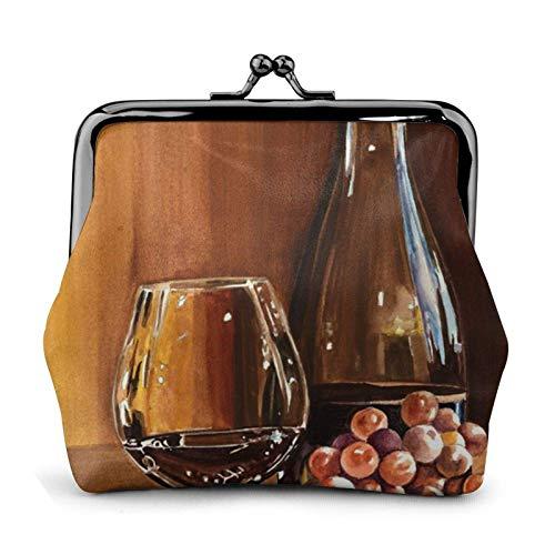 FENGJUAN Botella de vino tinto vidrio uva madera barril monedero t hebilla cerradura pequeña bolsa de cambio de cuero regalo para las mujeres