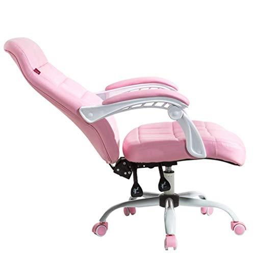 N/Z Équipement Quotidien Chaise d'ordinateur Salon Dossier Chaise inclinable Chaise de Bureau d'étude Chaise de Patron Chaise d'étudiant Dortoir Chambre Fauteuil pivotant Rose 64cm * 64cm * 111cm