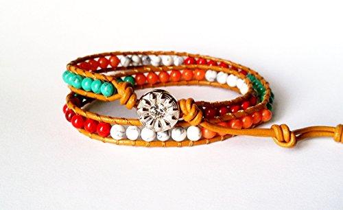 Crafty por KK | piel auténtica pulsera de perlas de dos envuelve 4mm color mezclado