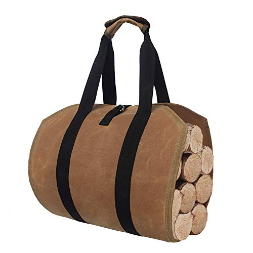 Araktin Firewood Carrier Bag100% Cotton Canvas Log Carring Bag Tote Holder with Handles Security Strap for Camping Fireplace ToolsStove Accessories Storage BagBrownUS
