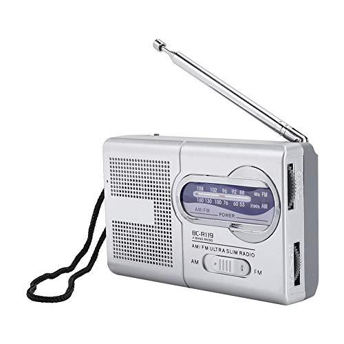 Mini Radio portátil, Altavoz de Radio Am/FM BC-R119, Radio de Bolsillo multifunción con Antena retráctil, Radio FM portátil para Exteriores de Dos Bandas, Radio de Mano Universal